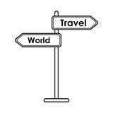 Travel and world road sign tourism  concept Royalty Free Stock Photo
