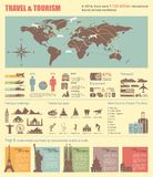 Travel and world tourism Infographic. Vector. Travel and world tourism Infographic. Template with map, icons, tourists attractions, charts and elements for web Stock Photo