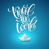 Travel the world type design with paper boat Stock Photos