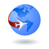 Travel the world vector symbol. Airplane flying around the earth globe stylized as icon or logo Royalty Free Stock Photography