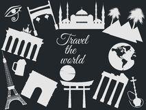 Travel the world, world landmarks, travel and tourism background. Around the world. Stock Images