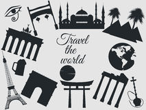 Travel the world, world landmarks, travel and tourism background. Around the world. On white background. Stock Photo