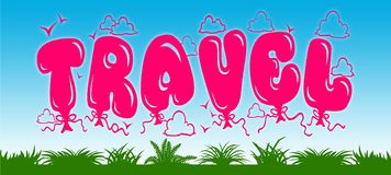 TRAVEL written with pink balloons on blue sky and green grass background. Stock Photos