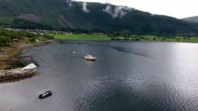 Travel on a yacht, north, Scandinavia, Norway. Aerial view stock video footage