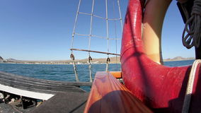 Travel on a yacht on the sea stock video footage