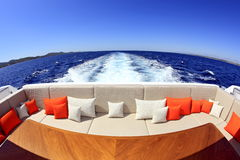 Travel. On yacht, view from last deck behind the yacht Royalty Free Stock Photography