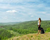 Young hiker on the hilltop Stock Photo