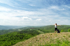Young hiker on the hilltop Stock Image