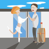 Travel young pair man and woman flat vector illustration. Travel young pair man and woman royalty free illustration