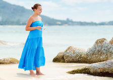 Young woman on a beach.  Royalty Free Stock Images