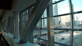 Travelator. View from windows on Dubai Marina, United Arab Emirates stock video