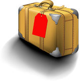 Traveled Suitcase With Travel Sticker. Traveled Vintage Suitcase With Travel Sticker vector illustration