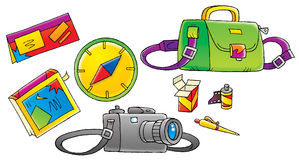 Traveler's Accessories. Isolated clip-art / illustration for yours design, postcard, album, cover, scrapbook, etc Stock Images