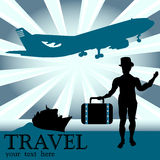 The traveler. Colorful background with plane shape, ship and male silhouette wearing a suitcase. Traveling concept Royalty Free Stock Image
