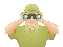 The Traveler. Man dressed in greens hat and shirt looking through binoculars stock illustration
