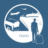 Traveler. Vector illustration of traveler with various travel symbols Royalty Free Illustration