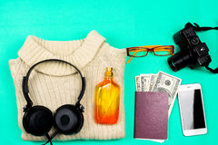 Traveler accessories on green background. Flat lay Royalty Free Stock Images