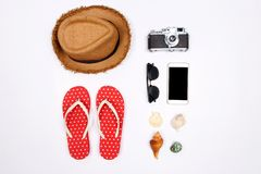 Traveler accessories on white background. stock image