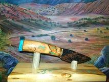 Traveler, acoma art , native , flintknapping, fineart, turquoise. This is a handmade stone knife.  Flintknapped Stock Photography