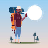 Traveler African American Man With Backpack Happy Young Guy On Hike Banner. Flat Vector Illustration Stock Photography