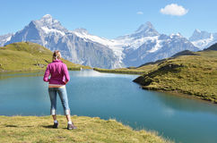 Traveler against Swiss Alps. Jungfrau region Royalty Free Stock Image