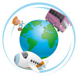 Traveler, airplane and bus  traveling around the world. Illustration of Traveler, airplane and bus  traveling around the world Royalty Free Stock Photos