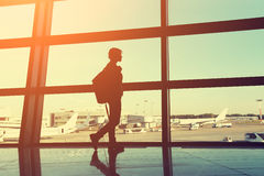 Traveler at the airport Stock Images