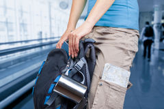 Traveler in the airport Stock Photography