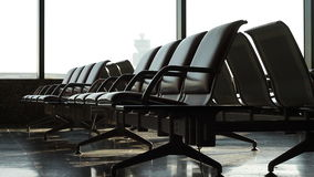 Traveler in airport waiting area Stock Images