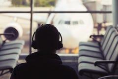 Traveler at the airport Royalty Free Stock Photos