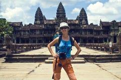 Traveler at Angkor Wat royalty free stock photography