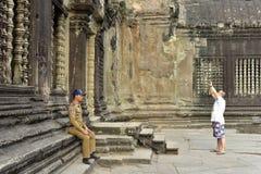 Traveler at Angkor Wat Royalty Free Stock Images