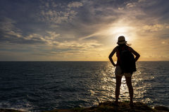 Traveler asia woman on sea cliff Stock Image