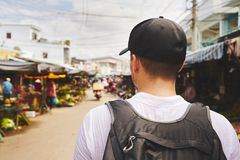 Traveler in Asia. Young traveler with back pack - Phu Quoc, Vietnam Royalty Free Stock Photos