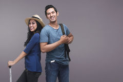 Traveler asian couple with happy expression Stock Photos