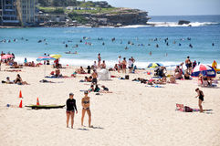 Traveler and Australian people come to Bondi Beach at Sydney Stock Photography