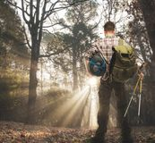 Traveler with in autumnal forest Stock Image