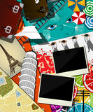 Travel abstract collage. Traveler background, collage, vector design Royalty Free Stock Images