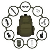 Traveler backpack contents Royalty Free Stock Image