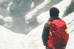 Traveler with backpack hiking alone Stock Image