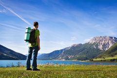 Traveler with backpack, hiking Stock Photography