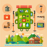 Traveler backpack. House in the forest Stock Image