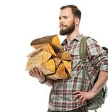 Traveler with backpack and logs Royalty Free Stock Images