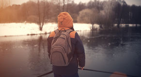 Traveler with backpack look ahead Stock Photos