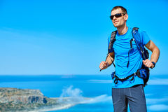 Traveler with backpack Stock Photography