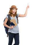 Traveler with backpack passport Royalty Free Stock Photo
