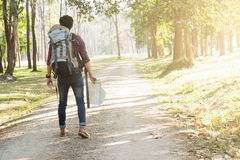 Traveler with backpack relaxing outdoor. Stock Photography
