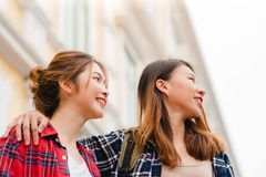 Traveler backpacker Asian women lesbian lgbt couple travel in Bangkok, Thailand. stock photography