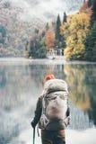 Traveler backpacker hiking Lifestyle adventure Stock Images