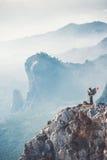 Traveler backpacker on mountains cliff Stock Photo
